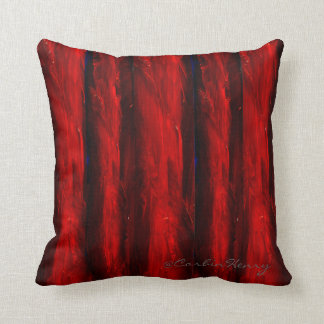 Deep Red Stripes Decorative Pillow
