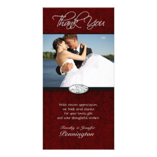 Deep red swirl diamond wedding thank you photocard picture card