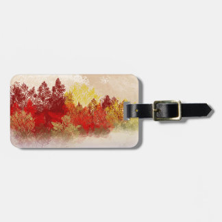 Deep Red Trees Travel Bag Tags