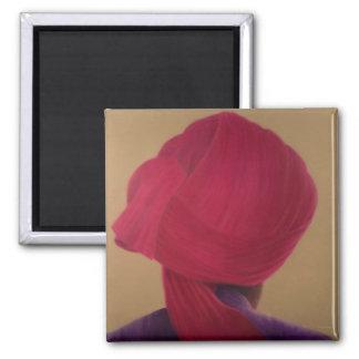 Deep Red Turban Purple Jacket Magnet