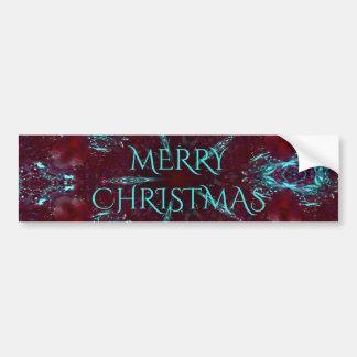 Deep Red Turquoise Merry Christmas Kaleidoscope Bumper Sticker