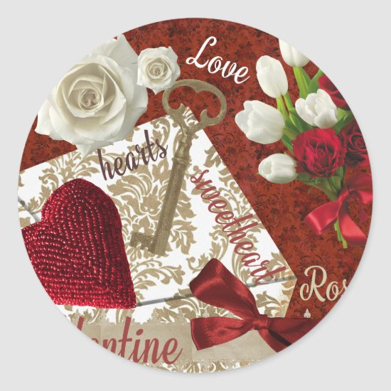 Deep Red Valentine Roses Gold Key and Heart Classic Round Sticker