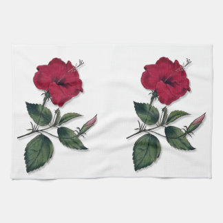 Deep Red Vintage Botanical Hibiscus Blossom Hand Towel