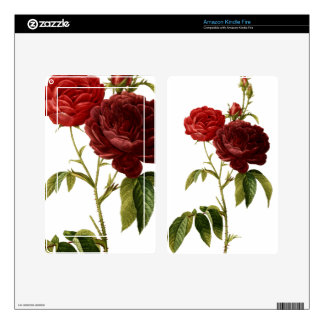 Deep red vintage roses painting decals for kindle fire