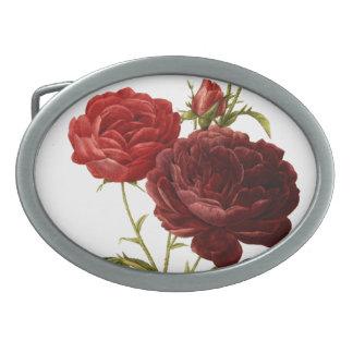 Deep red vintage roses painting oval belt buckle