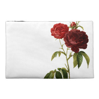 Deep red vintage roses painting travel accessory bag