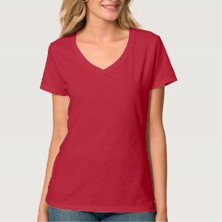 Deep Red Vneck>Ladies Basic Tshirt