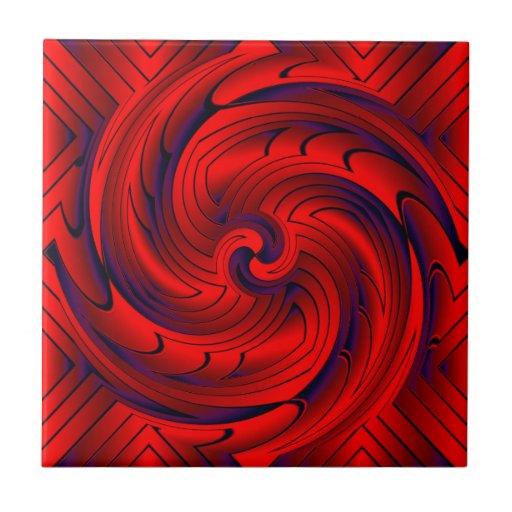 Deep Red Vortex Ceramic Tiles
