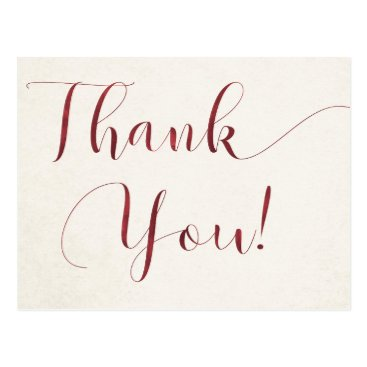 Deep Red Watercolor Thank You Postcard