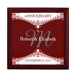 Deep Red+White Lace Wedding Anniversary Gift Box