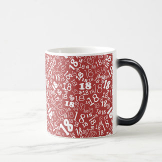 Deep Red White Numbers 18th Birthday Morphing Mug