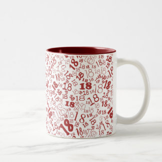 Deep Red White Numbers 18th Birthday Two-tone Mug