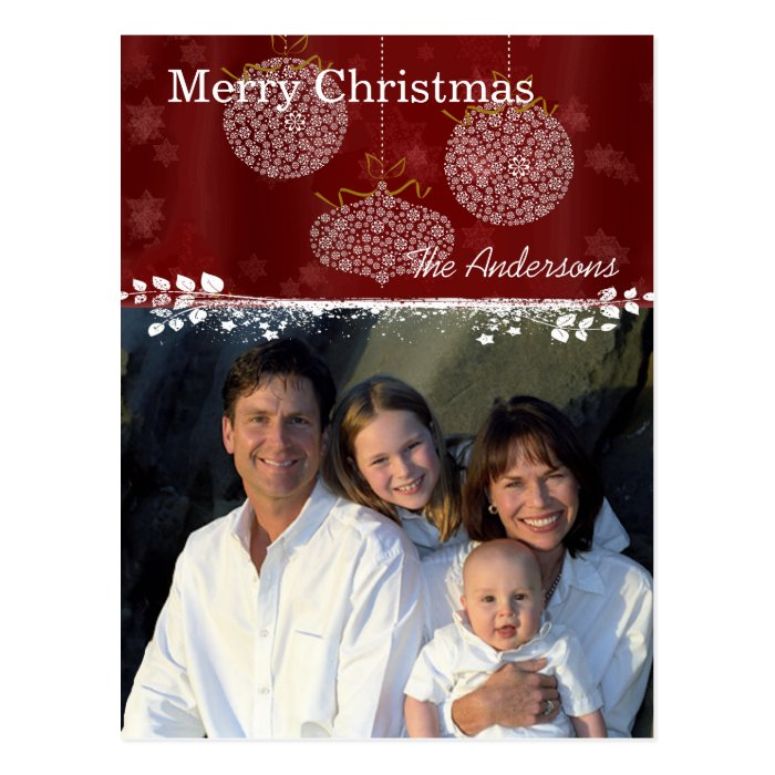 Deep Red & White Ornaments Family Christmas Photo Postcard