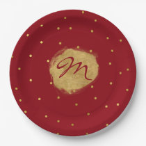 Deep Red with Gold Polka Dots Custom Paper Plates