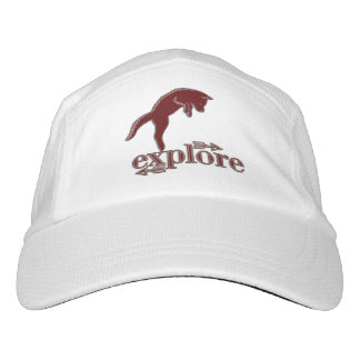 Deep Red Woodland Fox with Explore Word Art Headsweats Hat