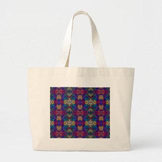 Deep Rich Fall Blues Purple Tribal Pattern Large Tote Bag
