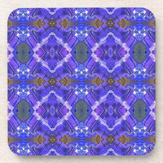 Deep Rich Purple Blue Fractal Tribal Pattern Beverage Coaster