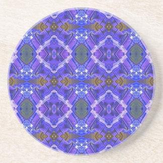 Deep Rich Purple Blue Fractal Tribal Pattern Coaster