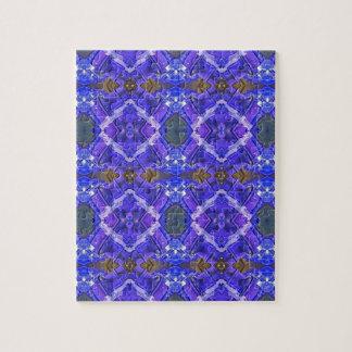 Deep Rich Purple Blue Fractal Tribal Pattern Jigsaw Puzzle
