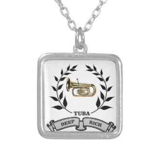 deep rich tuba silver plated necklace