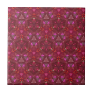 Deep Rose And Ruby Red Chic Customizable  Pattern Tile