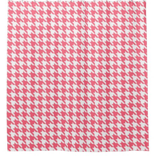 Deep Rose and White Houndstooth Pattern Shower Curtain | Zazzle