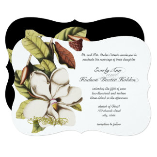 Deep Rose Magnolia Copper and Green Floral Card