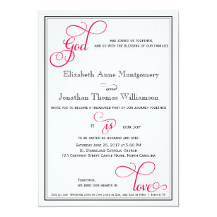 Deep Rose Pink God Is Love Christian Wedding Card