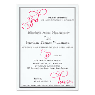 Amazing Deep Rose Pink God Is Love Christian Wedding Card Photo