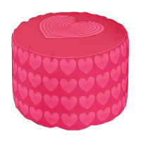 Deep Rose Pink Satin Hearts Pouf