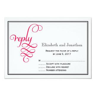 Deep Rose Pink Script Wedding Reply Card