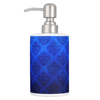 Deep Royal Blue Vintage Damask Grunge Texture Bathroom Set