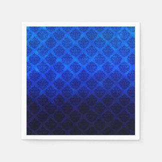 Deep Royal Blue Vintage Damask Grunge Texture Paper Napkin