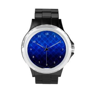 Deep Royal Blue Vintage Damask Grunge Texture Wrist Watch