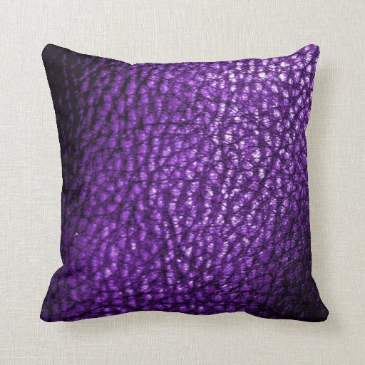 Deep Royal Purple Metalic Leather Design-Solid Throw Pillow Zazzle