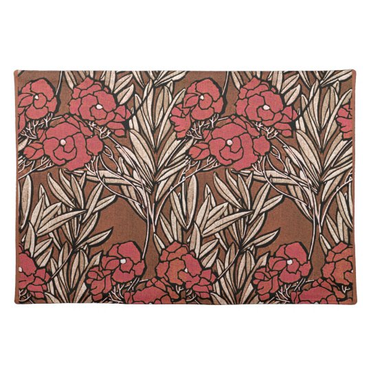 My Dog Ate Carpet Fibers: Deep Rust Floral Design Mojo Place Mat