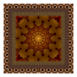Deep Rust Framed Mandala Poster