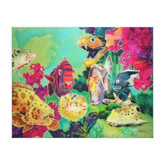 Deep Sea Beauties Tropical Fish Painting Canvas Print