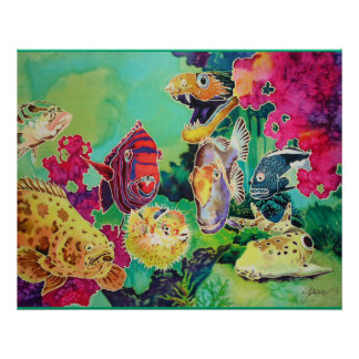 Deep Sea Beauties Tropical Fish Painting Poster