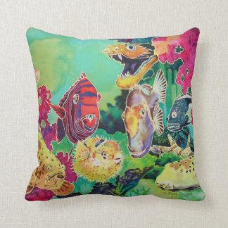 Deep Sea Beauties Tropical Fish Throw Pillow