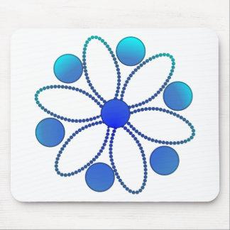 Deep sea blue flower mouse pad