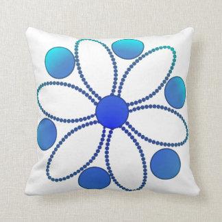 Deep sea blue flower pillow