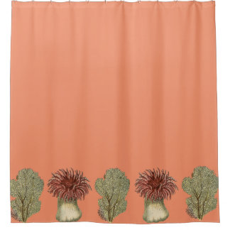 coral and brown shower curtain. deep sea coral with fans and anemones shower curtain brown
