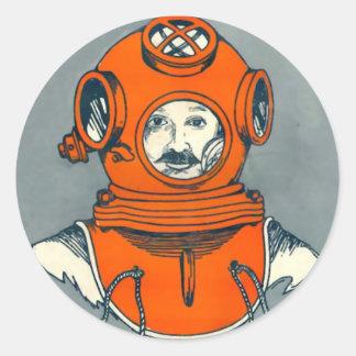 Deep Sea Diver 2 Round Stickers