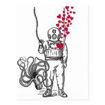 Deep Sea Diver Floating Hearts Postcard