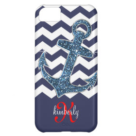 Deep Sea Faux Glitter Anchor Chevron Personalized iPhone 5C Covers