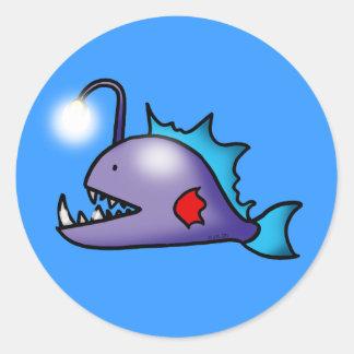 deep sea fish round sticker