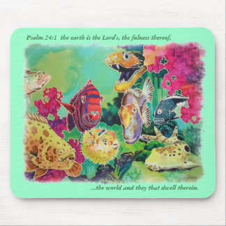 Deep Sea Fishes Tropical Silk Print Mouse Pad