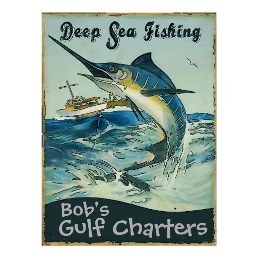 Deep sea fishing charters edit text poster zazzle for Deep sea fishing in california
