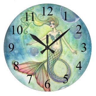 Deep Sea Galaxy Mermaid Wall Clock